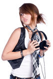 Girl with earphone Stock Photography