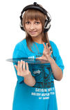 Girl in earphone with vinyl disk Stock Photography