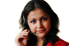Girl in earphones. Smile and look on camera Stock Photo