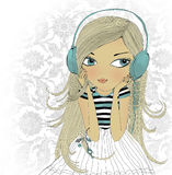 The girl in earphones. Hand drawn illustration Royalty Free Stock Photography