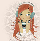 The girl in earphones. Hand drawn illustration Stock Images