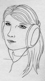 Girl with earphones. Long-haired young girl with earphones listening to music Stock Photos