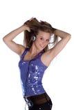 Girl with earphones stock photos