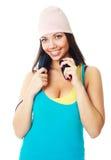 Girl with earphones Stock Image