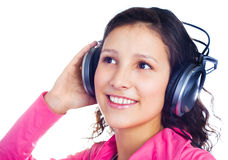 Girl with earphones Stock Images