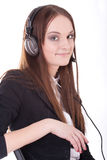 Girl in the earphones Royalty Free Stock Images