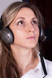 Girl with earphones Royalty Free Stock Image