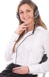 Girl with earphones Royalty Free Stock Images