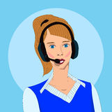 Girl with earphones. On the blue background Stock Image
