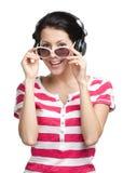 Girl with earphones Royalty Free Stock Photo