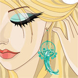 Girl with Earring. Vector illustration Royalty Free Stock Photography