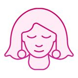Girl with earrings flat icon. Woman with jewelry pink icons in trendy flat style. Girls face gradient style design. Designed for web and app. Eps 10 stock illustration