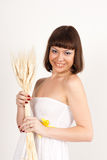 Girl with ears of wheat Royalty Free Stock Photo