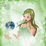 Girl with earth in hands. A beautiful girl with the world in her hands. A magic illustration made with watercolours and digital tools royalty free illustration
