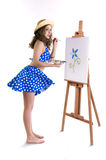 girl with an easel Royalty Free Stock Photos