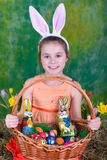 Girl with Easter Baskets. Little girl with a big Easter basket Stock Image