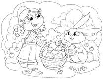 Girl with Easter Bunny royalty free illustration