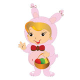 Girl in Easter Bunny costume with basket Royalty Free Stock Images
