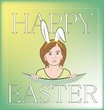 Girl with Easter bunny ears. Happy easter. vector illustration. Girl with Easter bunny ears. Happy easter. vector illustration Stock Image