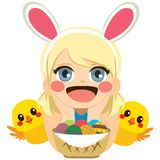Girl Easter Chicks. Sweet lovely adorable baby girl with Easter decorated eggs and little chicks Stock Image