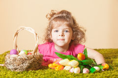 Girl with Easter decor Royalty Free Stock Photography