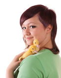 Girl with easter ducklings Stock Images