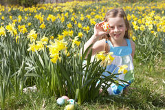 Girl On Easter Egg Hunt In Daffodil Field Stock Photography