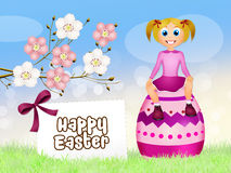 Girl on Easter egg Royalty Free Stock Photography