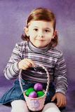 Girl and easter eggs Royalty Free Stock Image