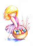 Girl with easter eggs. Small,sweet girl with full basked of easter eggs.Picture I have painted by myself with watercolors and colrored pancils Royalty Free Stock Image