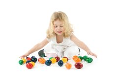 Girl with easter eggs Stock Photos