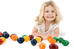 Girl with easter eggs Stock Photo