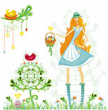 Girl with Easter Eggs and bird Royalty Free Stock Images