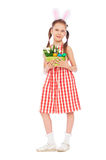 Girl with easter eggs and bunny's ears royalty free stock images