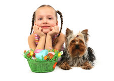 Girl with easter eggs and dog Stock Photos