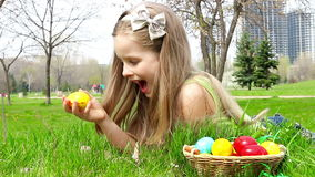 Girl with Easter eggs stock video