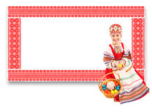 Girl with Easter eggs and a holiday cake Stock Images