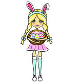 Girl with Easter eggs and rabbit ears Stock Photo