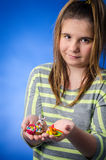 Girl with Easter figures Royalty Free Stock Photos