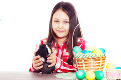 Girl and easter set Stock Image