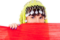 The girl in the Eastern dress Peeps Royalty Free Stock Photos
