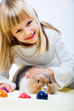 Girl and eastern rabbit 1 Royalty Free Stock Photography