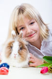 Girl and eastern rabbit 2 Royalty Free Stock Images