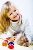 Girl and eastern rabbit Royalty Free Stock Photo