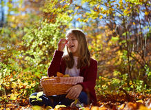 Girl eat fruit in the nature Stock Image