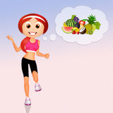 Girl eat healthy and make sport Royalty Free Stock Photography