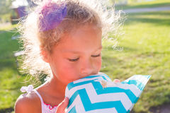 Girl eat Marshmellow . Picnic in summer day. Girl mixed race african and caucasian. Royalty Free Stock Image