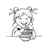 Girl eat noodle Royalty Free Stock Image
