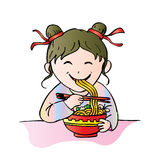 Girl eat noodle Royalty Free Stock Photo