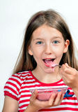 Girl Eat yogurt cheese Royalty Free Stock Photography